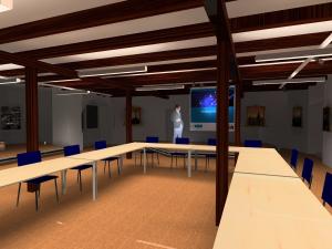 DIALux Simulation des Szenarios Ratssitzung im Rittersaal